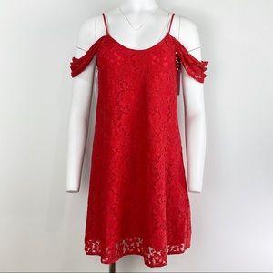 WAYF RED COLD-SHOULDER LACE DRESS